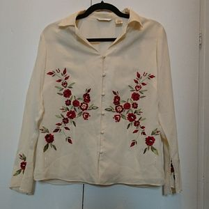 Laura Ashley cream silk red floral blouse NEW